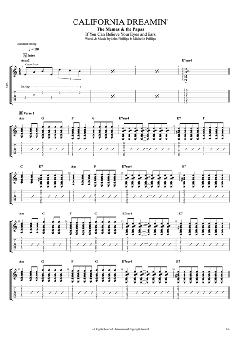 California Dreamin' - The Mamas & the Papas tablature