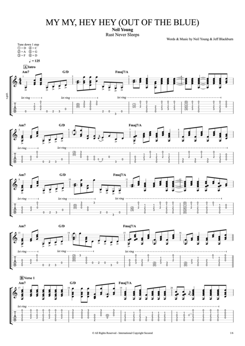 My My Hey Hey Out of the Blue - Neil Young tablature
