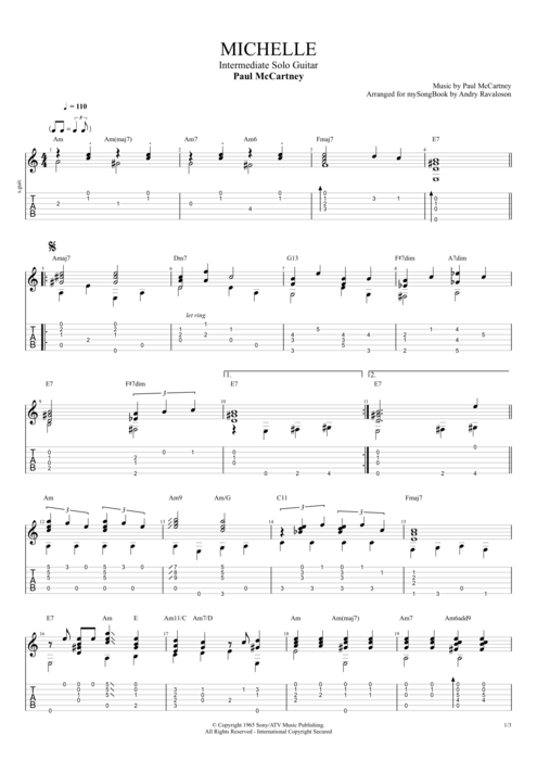 Michelle - The Beatles tablature
