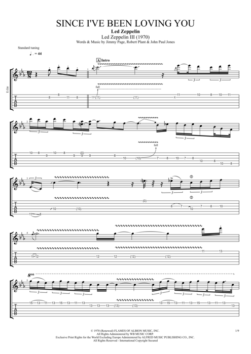 Since I've Been Loving You - Led Zeppelin tablature