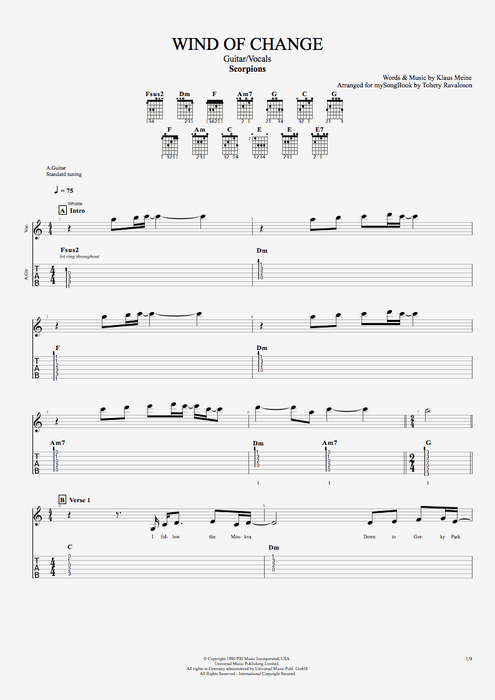 Wind of Change - Scorpions tablature