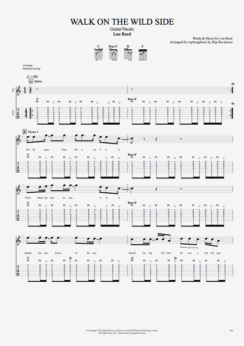 Walk on the Wild Side - Lou Reed tablature