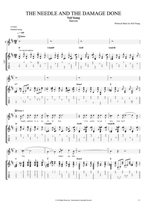 The Needle and the Damage Done - Neil Young tablature