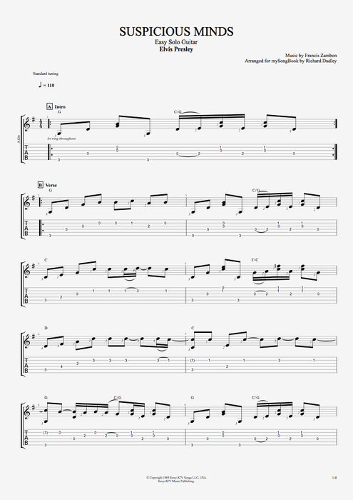 Suspicious Minds - Elvis Presley tablature