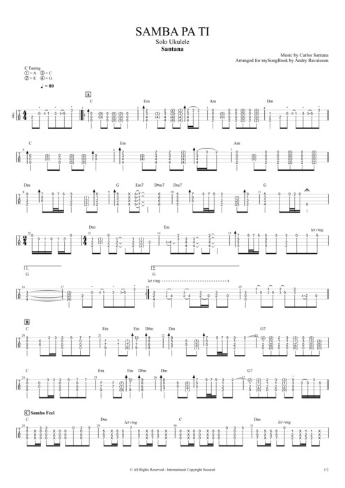 Samba Pa Ti - Santana tablature