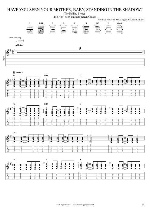 Have You Seen Your Mother, Baby, Standing in the Shadow? - The Rolling Stones tablature