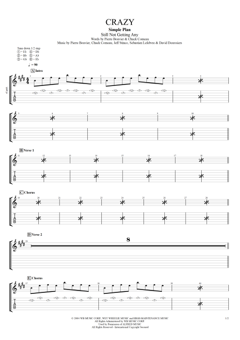 Crazy - Simple Plan tablature