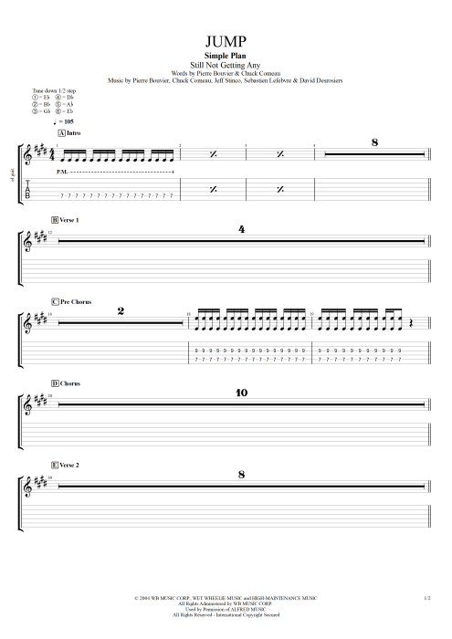 Jump - Simple Plan tablature