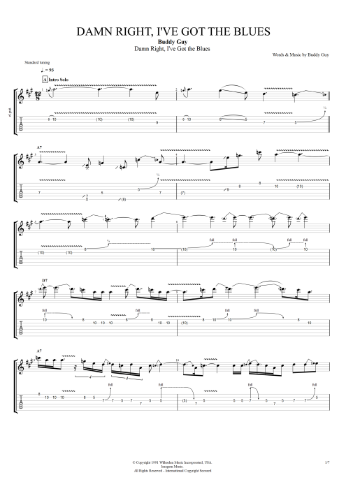 Damn Right, I've Got the Blues - Buddy Guy tablature