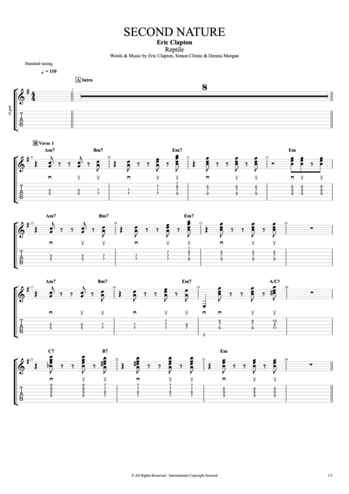 Second Nature - Eric Clapton tablature