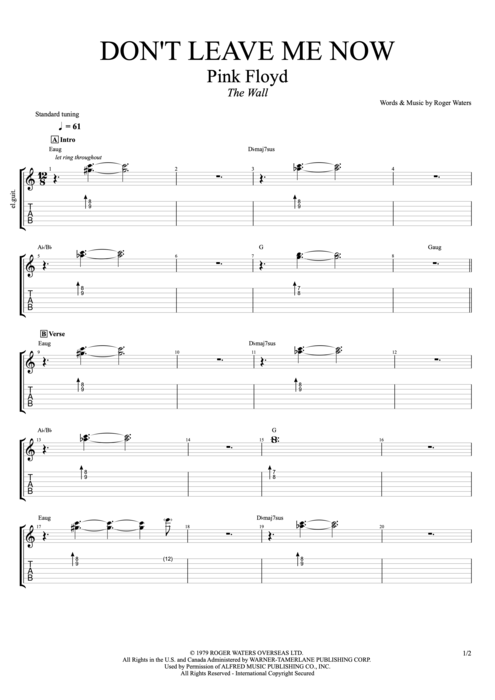 Don't Leave Me Now - Pink Floyd tablature