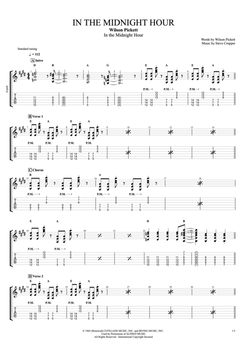 In the Midnight Hour - Wilson Pickett tablature