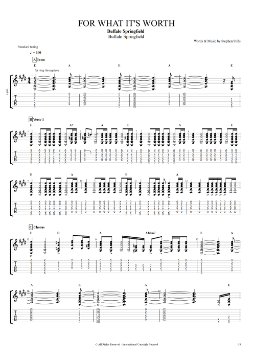 For What It's Worth - Buffalo Springfield tablature