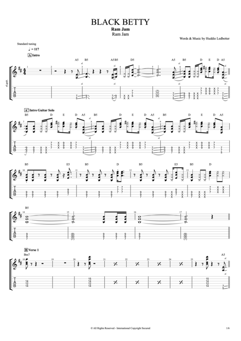 Black Betty - Ram Jam tablature