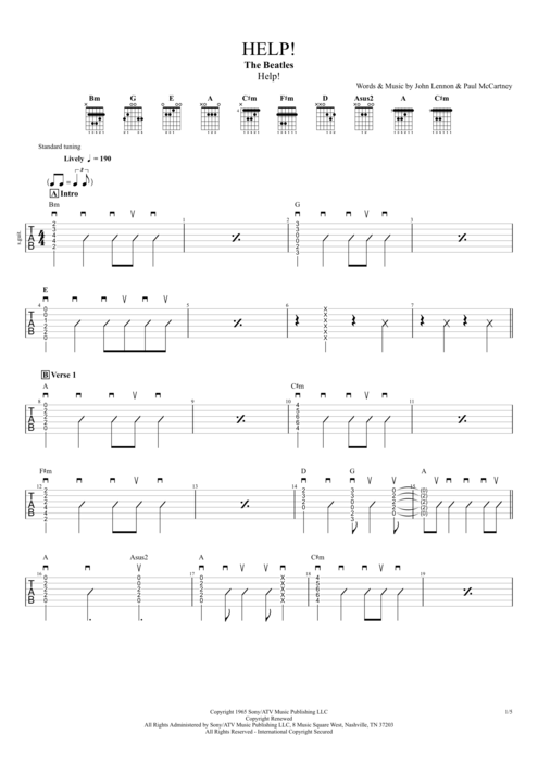 Help! - The Beatles tablature
