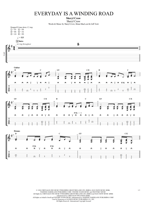 Everyday Is a Winding Road - Sheryl Crow tablature