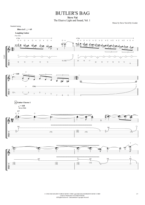 Butler's Bag - Steve Vai tablature