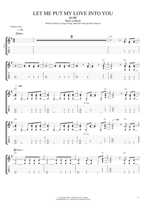 Let Me Put My Love Into You - AC/DC tablature