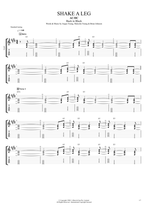 Shake a Leg - AC/DC tablature