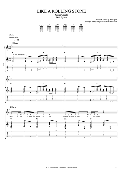 Like a Rolling Stone - Bob Dylan tablature
