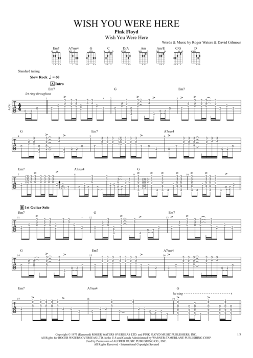 Guitar guitar tablature wish you were here : Wish You Were Here by Pink Floyd - Full Score Guitar Pro Tab ...
