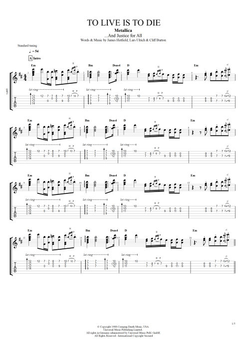 To Live Is to Die - Metallica tablature