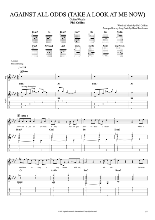 Against All Odds (Take a Look at Me Now) - Phil Collins tablature
