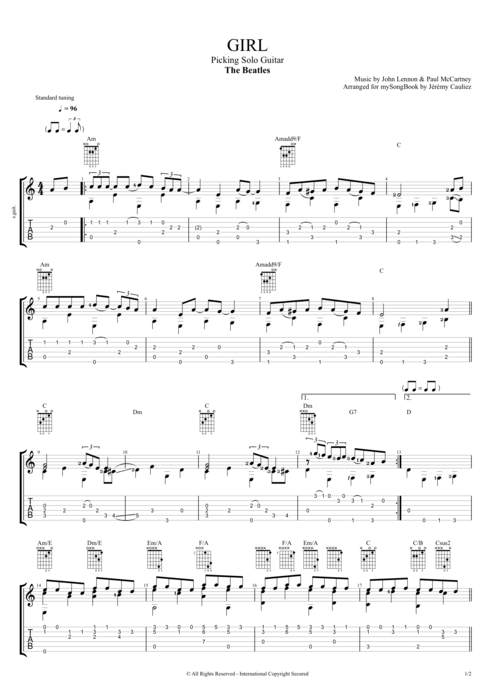 Girl - The Beatles tablature
