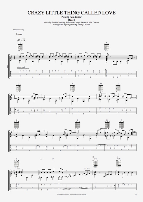 Crazy Little Thing Called Love - Queen tablature