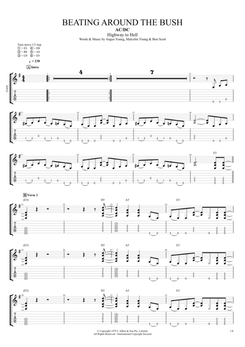 Beating Around the Bush - AC/DC tablature