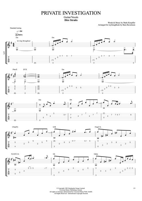 Private Investigations - Dire Straits tablature