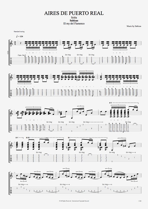 Aires de Puerto Real - Sabicas tablature