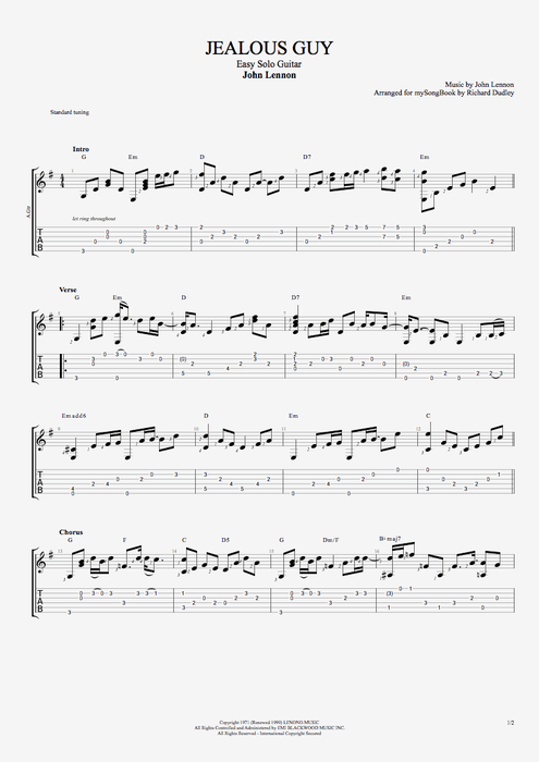 Jealous Guy - John Lennon tablature