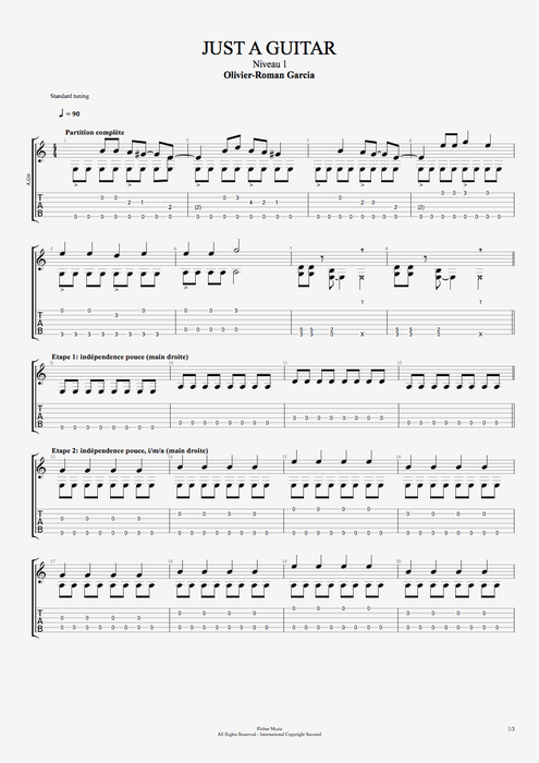 Just a Guitar - Olivier Roman-Garcia tablature