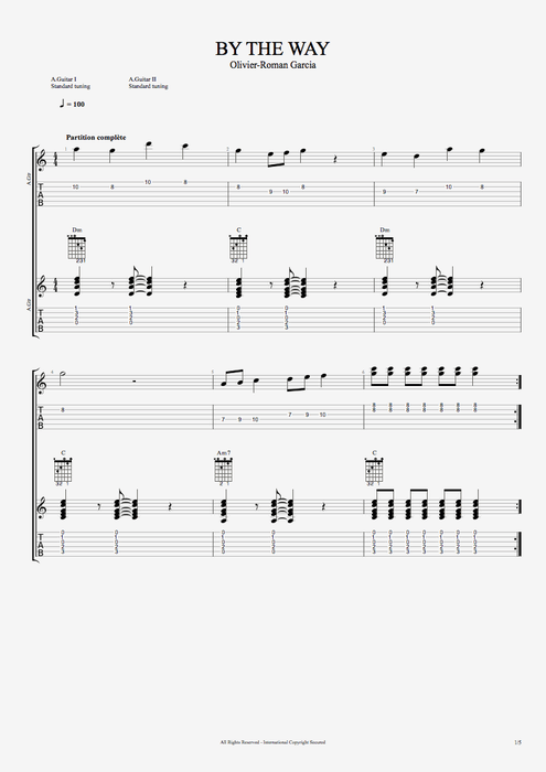 By the Way - Olivier Roman-Garcia tablature