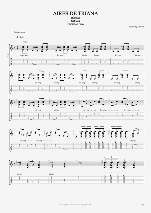 Aires de Triana - Sabicas tablature