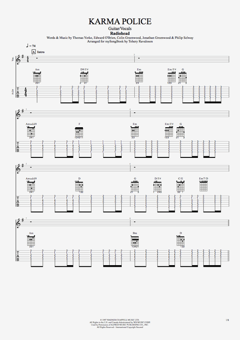 Karma Police - Radiohead tablature