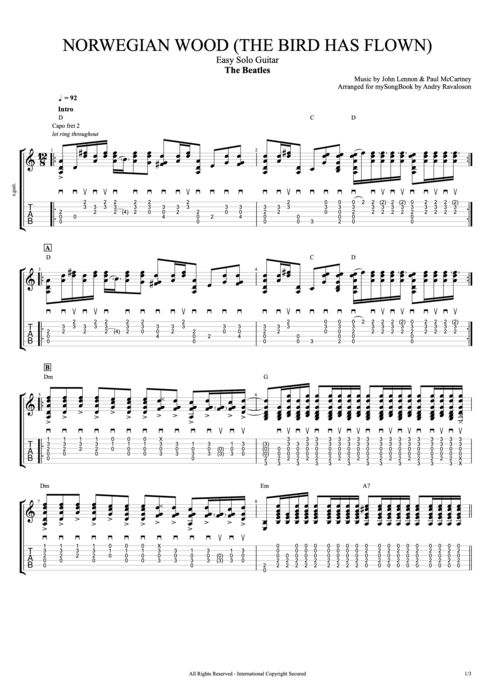 Norwegian Wood - The Beatles tablature