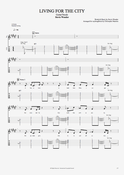 Living for the City - Stevie Wonder tablature
