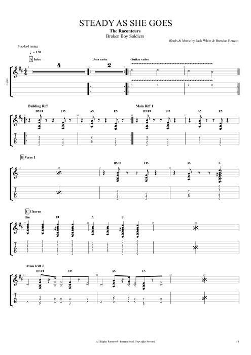 Steady as She Goes - The Raconteurs tablature