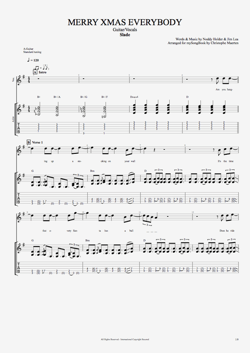 Merry Xmas Everybody - Slade tablature