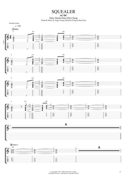 Squealer - AC/DC tablature