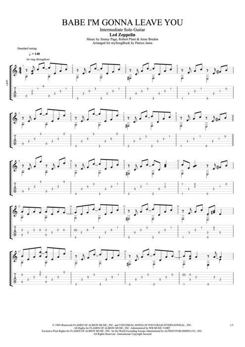 Babe I'm Gonna Leave You - Led Zeppelin tablature