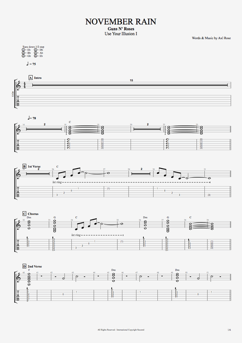 November Rain - Guns N' Roses tablature