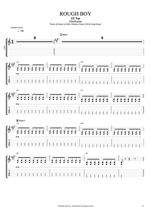 Guitar guitar tabs zz top : Rough Boy by ZZ Top - Full Score Guitar Pro Tab | mySongBook.com