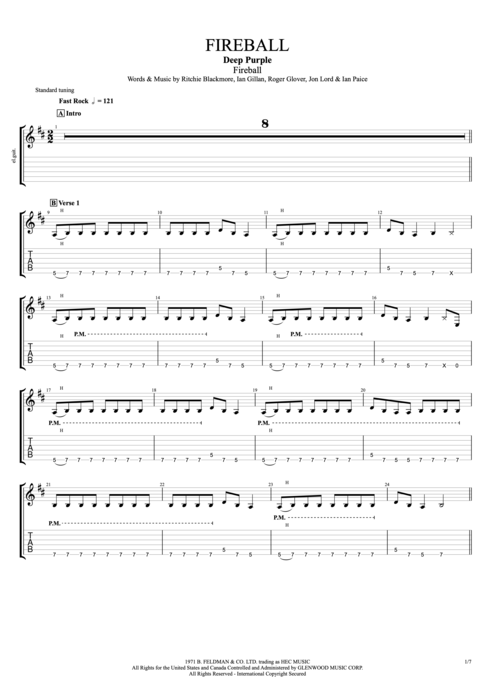 Fireball - Deep Purple tablature