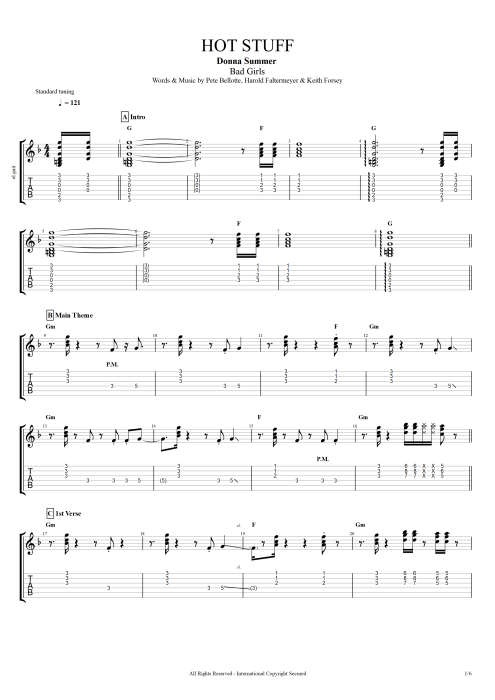 Hot Stuff - Donna Summer tablature