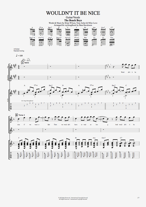 Wouldn't It Be Nice - The Beach Boys tablature