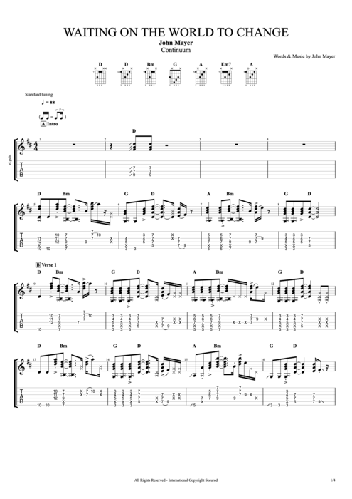 Waiting on the World to Change - John Mayer tablature