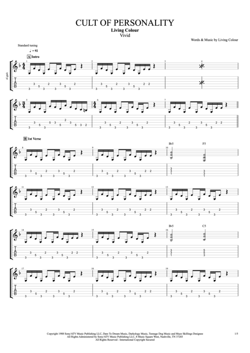 Cult of Personality - Living Colour tablature